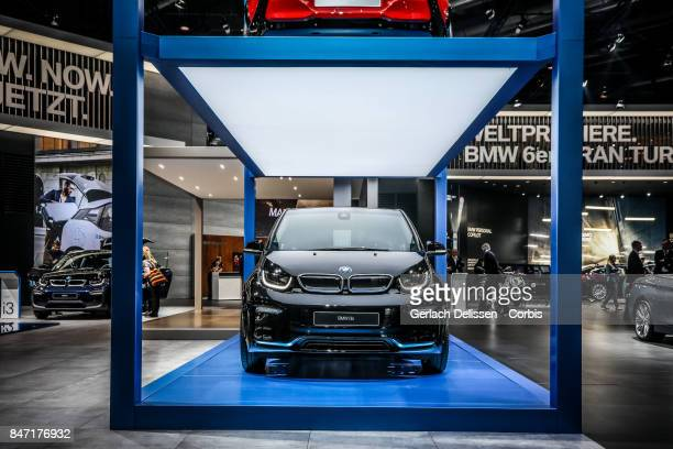 The BMW i3s on display at the 2017 Frankfurt Auto Show 'Internationale Automobil Ausstellung' on September 13 2017 in Frankfurt am Main Germany