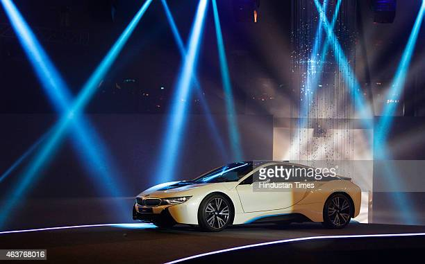 The BMW i8 a hybrid sports car is displayed during its launch on February 18 2015 in Mumbai India At Rs 229 crore exshowroom Mumbai BMW i8 is also...