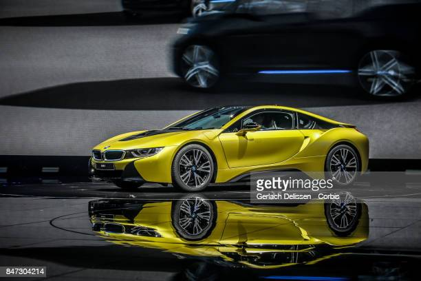 The BMW i8 on display at the 2017 Frankfurt Auto Show 'Internationale Automobil Ausstellung' on September 13 2017 in Frankfurt am Main Germany