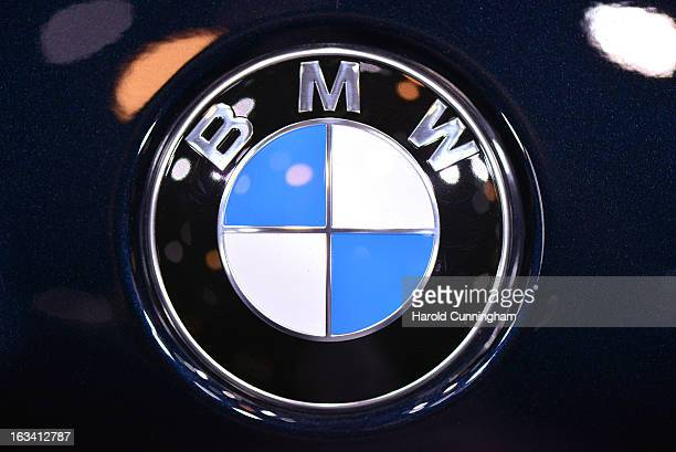 The BMW logo is seen during the 83rd Geneva Motor Show on March 5 2013 in Geneva Switzerland Held annually with more than 130 product premiers from...
