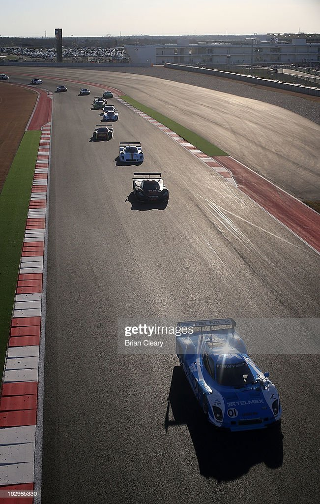 The #01 BMW Riley of Scott Pruett and Memo Rojas leads a line of cars during the Grand-Am of the Americas at Circuit of The Americas on March 2, 2013 in Austin, Texas.
