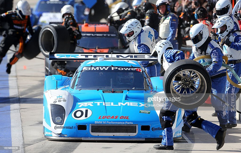 The #01 BMW Riley of <a gi-track='captionPersonalityLinkClicked' href=/galleries/search?phrase=Scott+Pruett&family=editorial&specificpeople=541449 ng-click='$event.stopPropagation()'>Scott Pruett</a> and <a gi-track='captionPersonalityLinkClicked' href=/galleries/search?phrase=Memo+Rojas&family=editorial&specificpeople=3547976 ng-click='$event.stopPropagation()'>Memo Rojas</a> makes a pit stop during the Grand-Am of the Americas at Circuit of The Americas on March 2, 2013 in Austin, Texas.