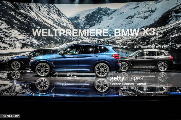 The BMW X3 on display at the 2017 Frankfurt Auto Show 'Internationale Automobil Ausstellung' on September 13 2017 in Frankfurt am Main Germany