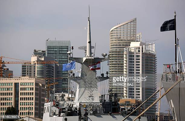 The BNS Nirmul a Durjoyclass semi stealth large patrol craft of the Bangladesh Navy flies the UN flag as it is docked in the port of Beirut during a...