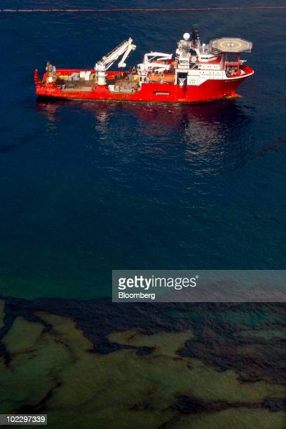 The Boa Deep C offshore support vessel controls a remotely operated underwater vehicle at the site of the BP Plc Deepwater Horizon oil spill in the...