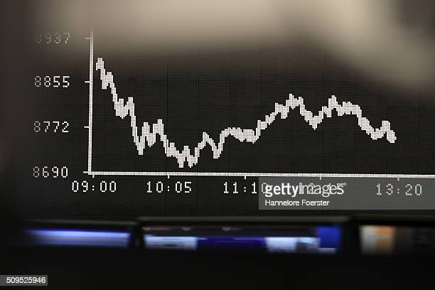 The board displaying the day's course of the DAX stock market index at the Frankfurt Stock Exchange on February 11 2016 in Frankfurt Germany Stock...