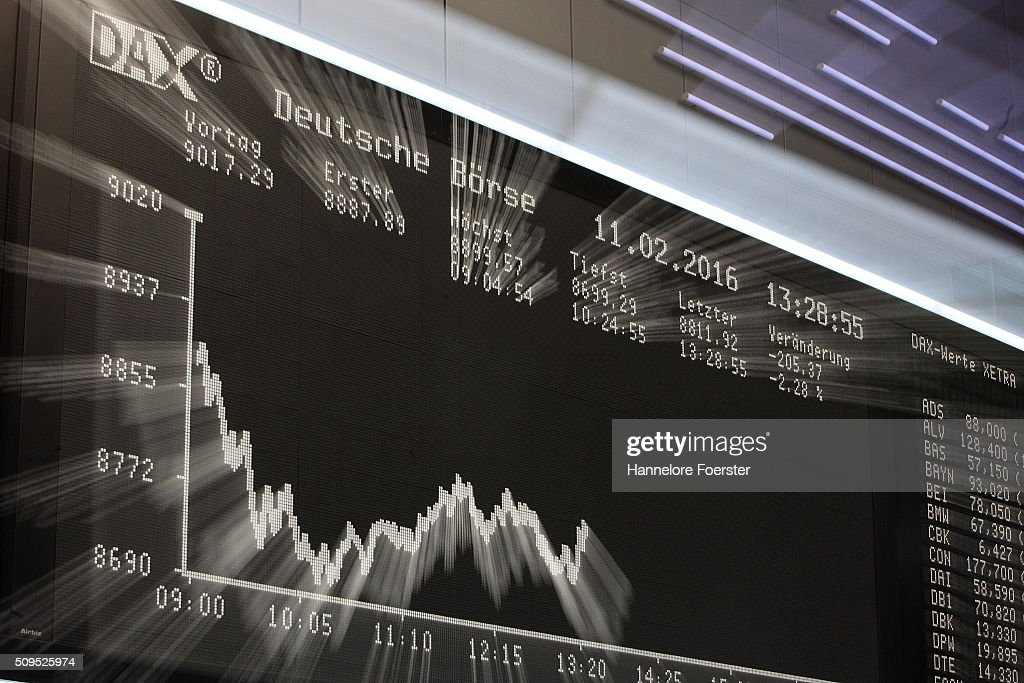 The board displaying the day's course of the DAX stock market index at the Frankfurt Stock Exchange on February 11, 2016 in Frankfurt, Germany. Stock markets across the globe have been exceptionally volatile in recent weeks as investors fear a global economic slowdown.