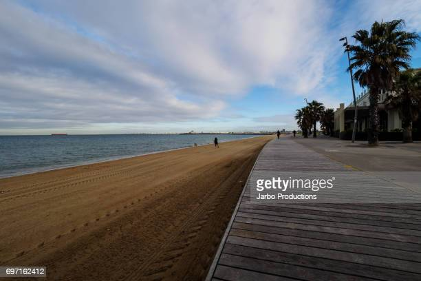 The boardwalk and beach front at St Kilda Melbourne