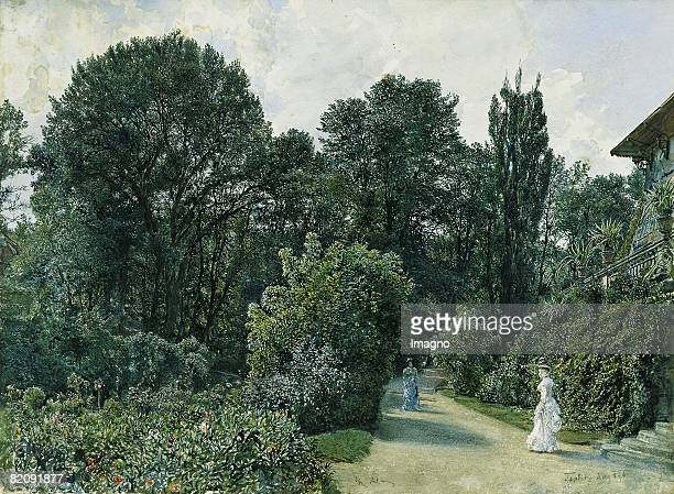 The Boardwalk in Teplitz Watercolour Superscribed 'R Alt' and ' Teplitz Aug__876'Inv National Collection for Graphics Munich [Die Kurpromenade in...