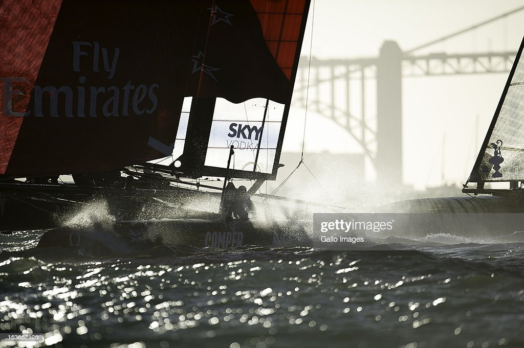 The boats race around the top mark in the first of 2 fleet races with Emirates Team New Zealand (NZL) Skipper Dean Barker leading the bunch during Day 4 of the America's Cup World Series on Occtober 6, 2012 in San Francisco, California.
