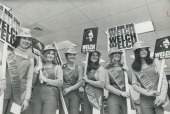 The Bob Welch Boosters group of girls who are backing Provincial Secretary Robert Welch in his bid for leadership of the Ontario Conservative party...