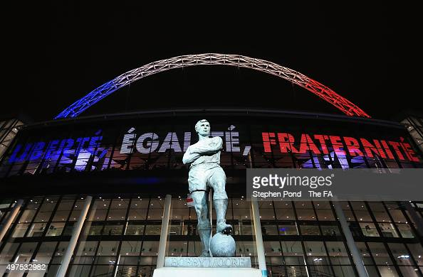 The Bobby Moore statue stands infront of Wembley stadium prior to the International Friendly match between England and France at Wembley Stadium on...