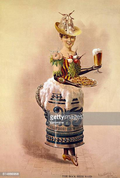 The Bock Beer Lady The Bock Beer Lady gaily attired with 'bockwursts' and radishes Goat motive of Bock Beer ornaments her hat