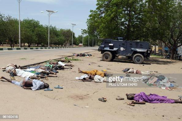 The bodies of alleged selfstyled Nigerian Talibans who were killed earlier on July 29 2009 during a crossfire with soldiers deployed on July 28 to...