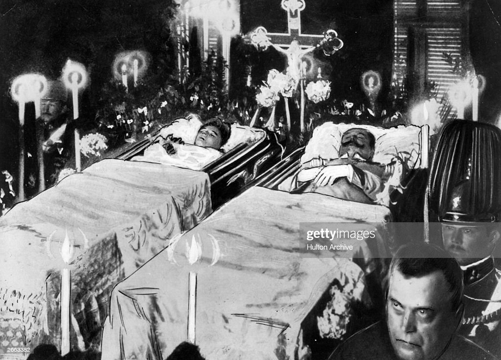 The bodies of Franz Ferdinand, Archduke of Austria (1863 - 1914) and his wife Sophie lie in state after their assassination at Sarajevo. Original Publication: People Disc - HM0513