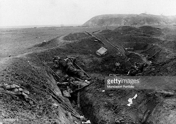 The bodies of the British soldiers dead during the Battle of the Somme lying in their trench France september 1916