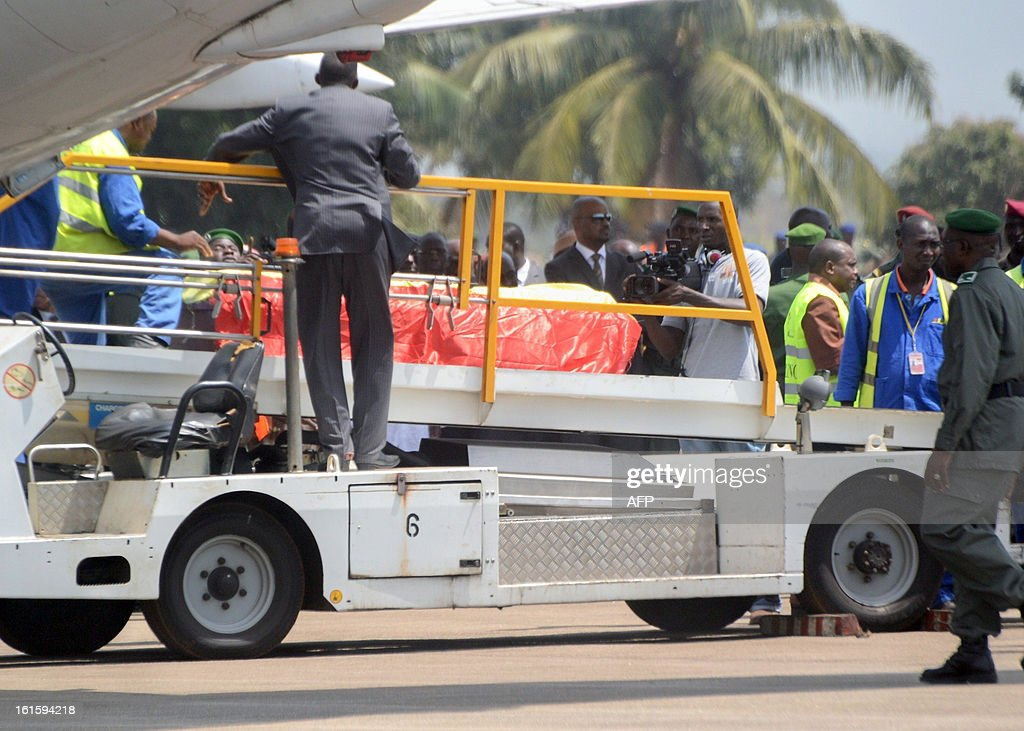 The bodies of the victims of the February 11, 2013 plane crash in the Liberian town of Charlesville arrive on February 12 at an air base outside Conakry. A plane carrying a military delegation from Guinea crashed on February 11 in Charlesville, killing the army chief of staff, General Souleymane Kelefa Diallo, and 10 other people. The plane was carrying the delegation to attend an armed forces day in Liberia, which holds ceremonies each year to recognize its military and often invites officers from neighbouring countries, including Guinea.