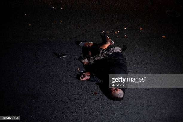 The body of a man lies dead after figuring in a shootout with police in Manila Philippines August 17 2017 Amidst the drug crackdown's deadliest week...