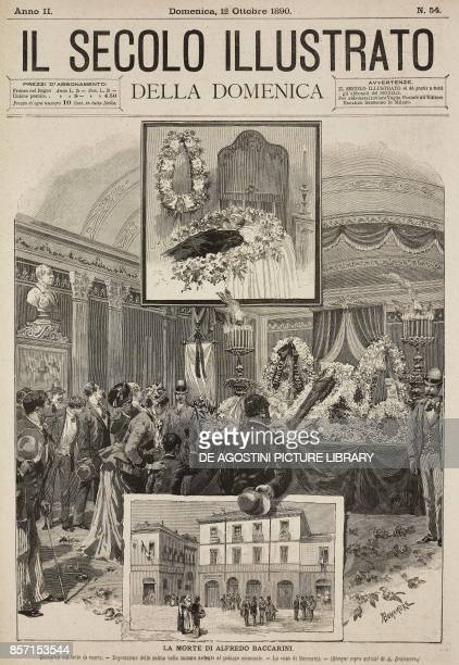 The body of Baccarini funeral chamber in Russi town hall Baccarini's house death of Alfredo Baccarini Italian engineer and politician drawings by A...