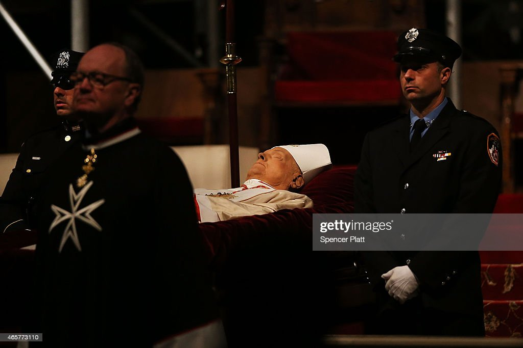 The body of Cardinal Edward M. Egan lies in state during a public viewing at St. Patrick's Cathedral on March 10, 2015 in New York City. New York's eighth archbishop, who retired from his post in 2009, will be buried in the church following his funeral Mass later in the day. Cardinal Egan, who served as the Archbishop of New York from 2000 to 2009, died on March 5 at the age of 82.