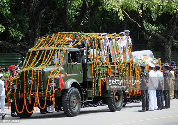 The body of former Indian president APJ Abdul Kalam is transported to his official house in New Delhi Kalam was the state president in the year...