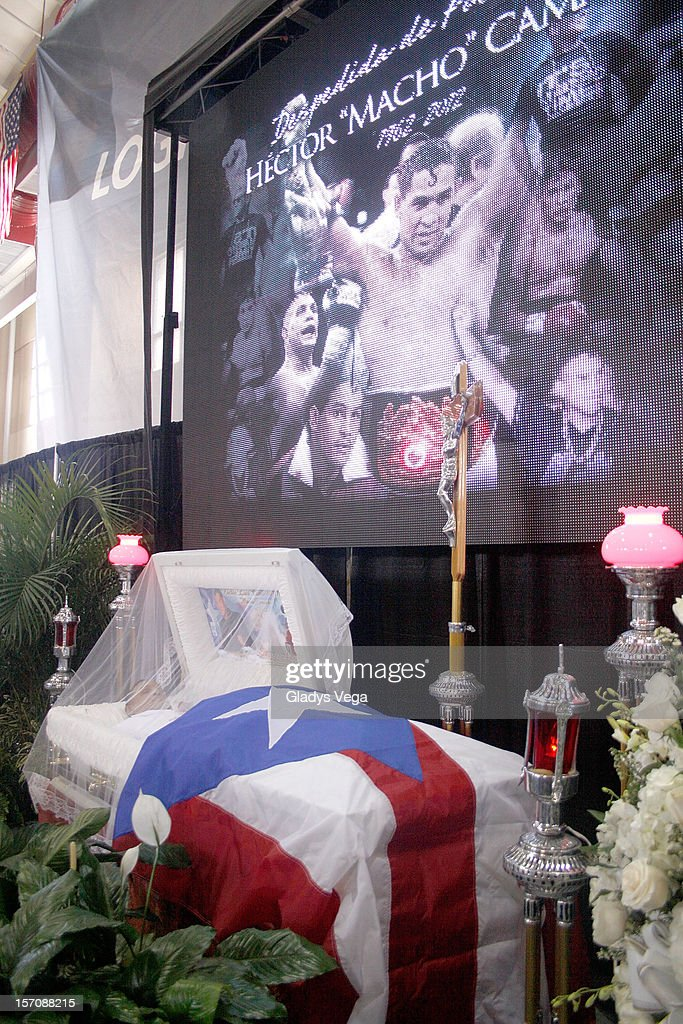 The body of Hector 'Macho' Camacho is seen during the public memorial service at Department of Sports and Recreation on November 28, 2012 in San Juan, Puerto Rico. Camacho died after being removed from life support following a November 20, 2012 shooting in Bayamon, Puerto Rico.