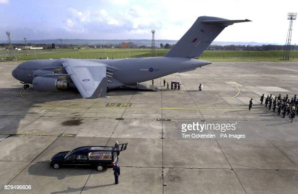 The body of one of the 10 servicemen who were killed when the C130 Hercules plane they were travelling in crashed in Iraq on January 30 is returned...