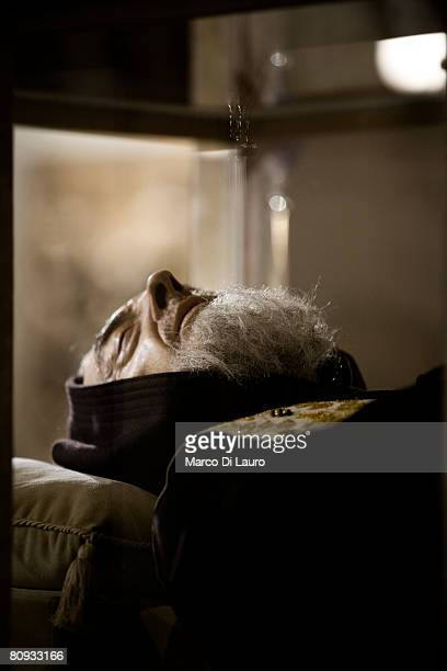 The body of Padre Pio is seen on display to the faithful in the church of Santa Maria delle Grazie on April 24 2008 in San Giovanni Rotondo about 380...