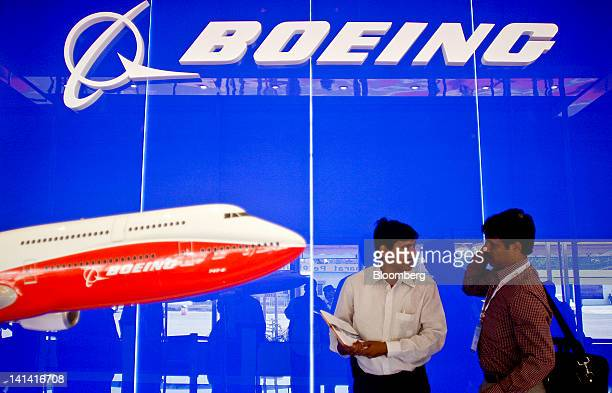 The Boeing Co logo is displayed inside the company's pavilion the India Aviation 2012 conference at Begumpet Airport in Hyderabad India on Friday...