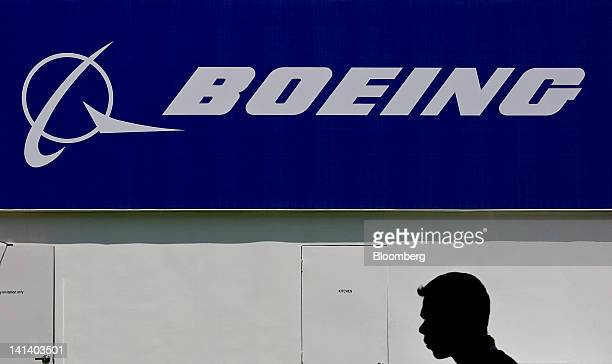 The Boeing Co logo is displayed outside the company's pavilion at the India Aviation 2012 conference at Begumpet Airport in Hyderabad India on...