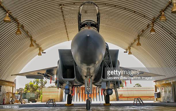 The Boeing F-15I Ra'am parked in the hangar at Hatzerim Air Base, Israel. The F-15I Raam is without question the meanest strike fighter in the arsenal of the Israeli Air Force.
