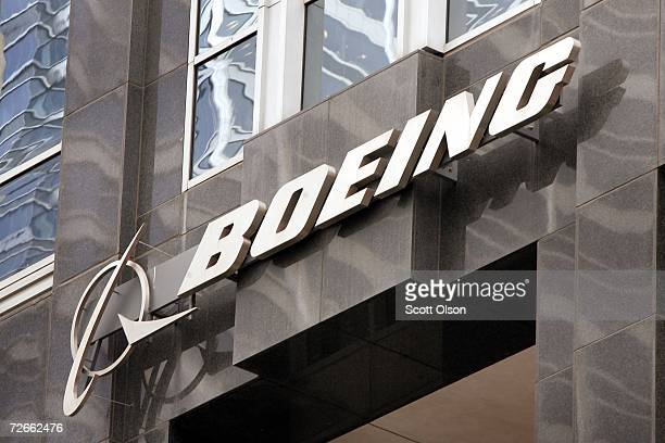 The Boeing logo hangs on the corporate world headquarters building of Boeing November 28 2006 in Chicago Illinois Orders for US manufactured durable...