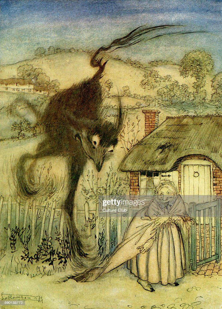 The Bogey Beast English fairy tale The old woman frightens away the bogey beast Illustration by Arthur Rackham