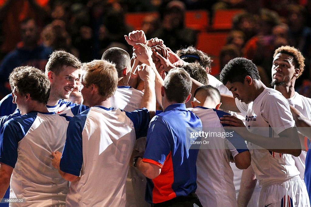The Boise State Broncos gather as a team prior to their game against the Northwest Eagles on November 6 2015 at Taco Bell Arena in Boise Idaho