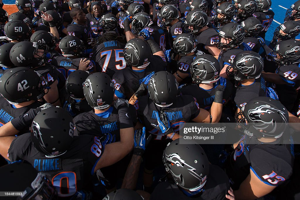 The Boise State Broncos psych up before the game against the UNLV Rebels at Bronco Stadium on October 20, 2012 in Boise, Idaho.