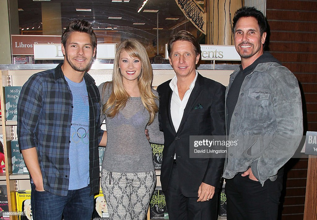 'The Bold and the Beautiful' cast members <a gi-track='captionPersonalityLinkClicked' href=/galleries/search?phrase=Scott+Clifton&family=editorial&specificpeople=675202 ng-click='$event.stopPropagation()'>Scott Clifton</a> and Kim Matula, executive producer <a gi-track='captionPersonalityLinkClicked' href=/galleries/search?phrase=Bradley+Bell&family=editorial&specificpeople=627792 ng-click='$event.stopPropagation()'>Bradley Bell</a> and cast member <a gi-track='captionPersonalityLinkClicked' href=/galleries/search?phrase=Don+Diamont&family=editorial&specificpeople=606917 ng-click='$event.stopPropagation()'>Don Diamont</a> attend a signing for 'Becoming Bold & Beautiful' at Barnes & Noble bookstore at The Grove on November 13, 2012 in Los Angeles, California.