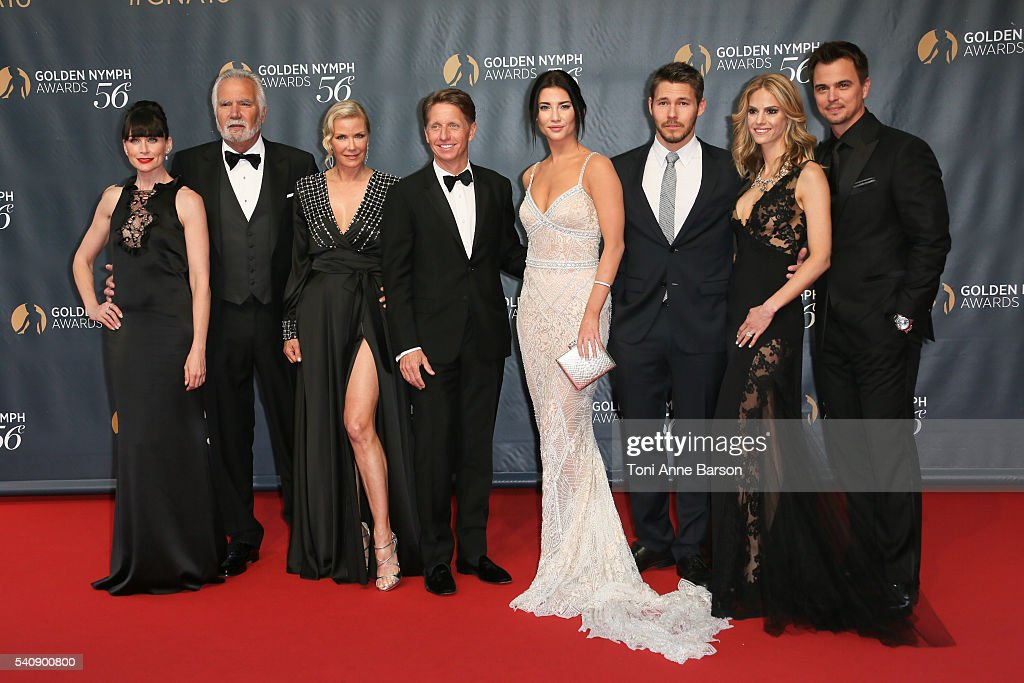 The Bold and The Beautiful Cast with Rena Sofer, John McCook, Katherine Kelly Lang, Jacqueline MacInnes Wood, Scott Clifton, Kelly Kruger and Darin Brooks arrive at the 56th Monte Carlo TV Festival Closing Ceremony and Golden Nymph Awards at The Grimaldi Forum on June 16, 2016 in Monte-Carlo, Monaco.