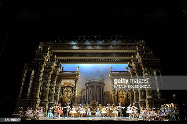 The Bolshoi ballet dancers perform during a rehearsal for a new production of Tchaikovsky's 'The Sleeping Beauty' by Russian choreographer Yuri...