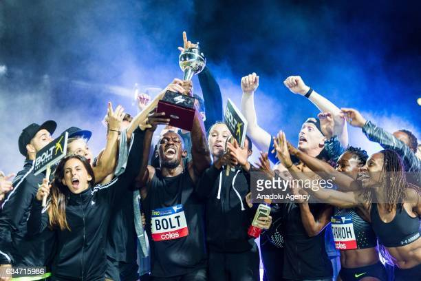 The Bolt Allstars led by captain Usain Bolt celebrate on stage after winning the Nitro trophy in the Nitro series during round 3 of the Nitro...