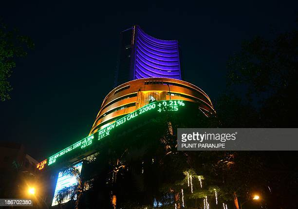The Bombay Stock Exchange building is seen illuminated during a special trading session for Diwali the Festival of Lights in Mumbai on November 3...