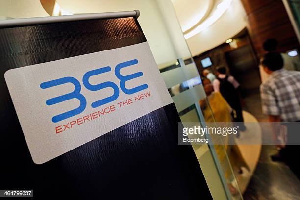 The Bombay Stock Exchange logo is displayed at the entrance to the bourse's lobby in Mumbai India on Thursday Jan 23 2014 Indian stocks dropped for...