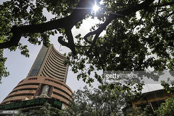 The Bombay Stock Exchange stands in Mumbai India on Tuesday Aug 5 2014 Indias benchmark stockindex fell as lenders declined after the central bank...