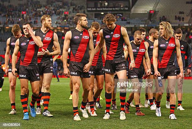 The Bombers leave the field after losing the round 20 AFL match between the Essendon Bombers and the Adelaide Crows at Etihad Stadium on August 15...