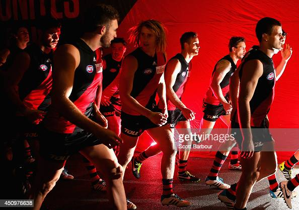 The Bombers run onto the field during the round 14 AFL match between the Essendon Bombers and the Adelaide Crows at Etihad Stadium on June 21 2014 in...