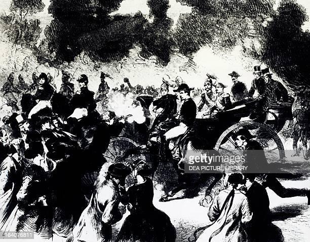 The bombing of Paris where Tsar Alexander II Romanov escaped death engraving 19th century