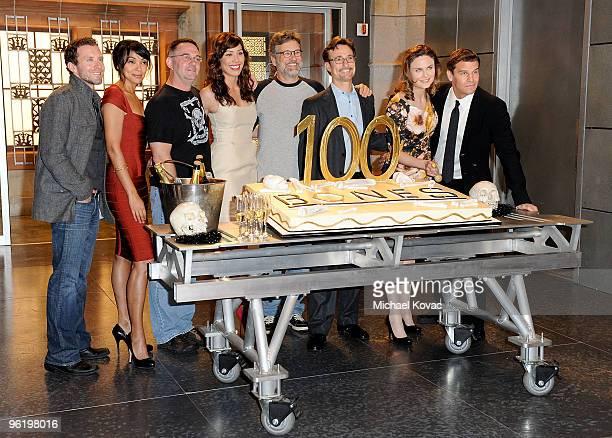 The 'Bones' cast and executive producers including actor TJ Thyne actress Tamara Taylor executive producer/creator Hart Hanson actress Michaela...