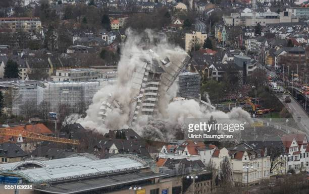 The Bonn Center built in1969 a landmark of the city was blown up punctually at 11 o'clock in the morning