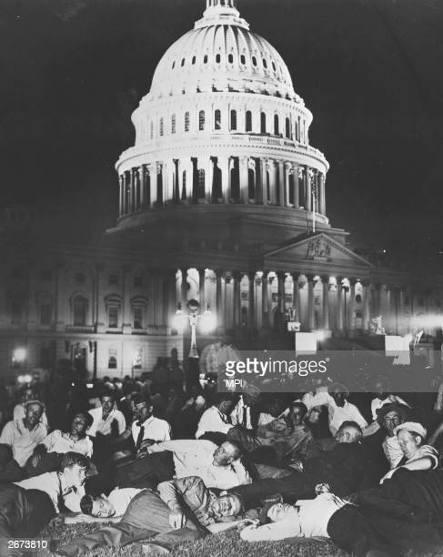 The 'Bonus Army' veterans of the First World War stage a massed vigil on the lawn of the US Capital Washington DC while the Senate debate their case...