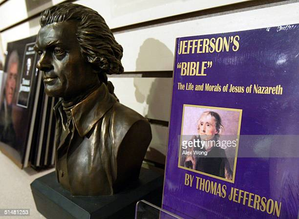 The book 'Jefferson's 'Bible' The Life and Morals of Jesus of Nazareth' is displayed at the bookstore of Thomas Jefferson Memorial October 14 2004 in...