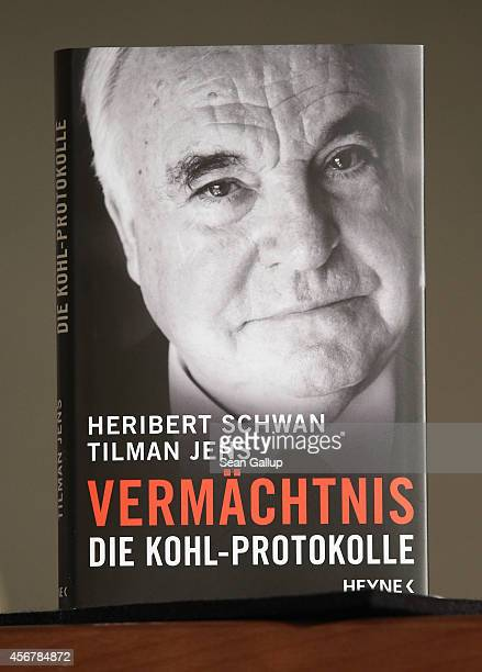 The book 'Legacy The Kohl Records' stands on a table at a press conference in which coauthors Heribert Schwan and Tilman Jens spoke to the media at...